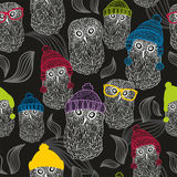 Seamless background with winter owls Royalty Free Stock Photos