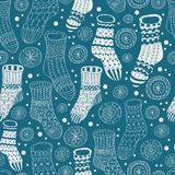 Seamless background with winter stockings Royalty Free Stock Photo