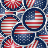 Seamless Background With American Flag Buttons Stock Photos