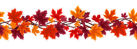 Free Seamless Background With Autumn Maple Leaves Stock Images - 28038214