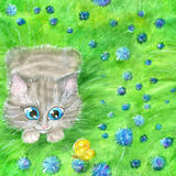 Seamless Background With Cat Playing In Grass Royalty Free Stock Image
