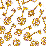 Seamless Background With Gold Keys Royalty Free Stock Images