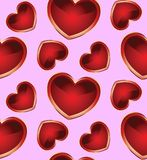Seamless Background With Hearts_2 Royalty Free Stock Photography