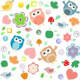 Seamless Background With Owls, Leaves And Flowers Royalty Free Stock Image