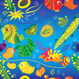 Seamless Background With Tropical Fish Stock Photo