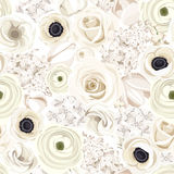 Seamless Background With Various White Flowers. Vector Illustration. Stock Photos