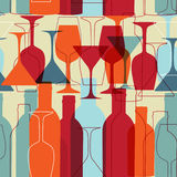 Seamless Background With Wine Bottles And Glasses Stock Image