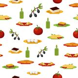 Seamless background witn cartoon italian food Stock Photo