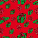 Seamless background Xmas gifts Royalty Free Stock Images