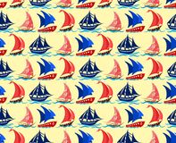 Seamless background with yachts. Seamless background with sailing vessels in the sea Stock Photos