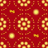Seamless background with yellow asters and gold leaves on red background vector illustration