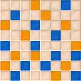 Seamless background with yellow, blue and beige mosaic tiles Stock Photos