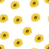 Seamless background: yellow flowers sunflowers on a white background. Flat vector. royalty free illustration