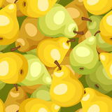 Seamless background with yellow and green pears. Stock Image