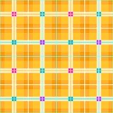 Seamless background, yellow squares, vector. Vector geometric background with pink and green little squares and thin lines on a yellow field. For the decoration Royalty Free Stock Photography