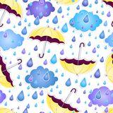 Seamless background with a yellow umbrella Royalty Free Stock Photo