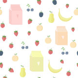 Seamless background with yoghurt and fruits berries. Seamless background with package of yogurt, fruits and berries Royalty Free Stock Image
