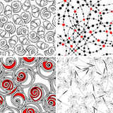Seamless backgrounds. Set of stylish seamless geometical and floral backgrounds Royalty Free Stock Photo