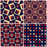 Seamless backgrounds. Blue beige and red classic sets with geometric patterns. For wallpapers, textile and fabrics Stock Photos