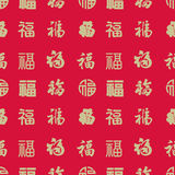 Seamless backgrounds of Chinese style-13(Fu character). The character Fu (福) meaning good fortune or happiness is represented both as a Chinese ideograph vector illustration