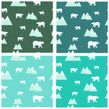 4 seamless backgrounds colorful polar bears and icebergs. 4 seamless backgrounds colored icebergs and polar bears and snowflakes vector Royalty Free Stock Photo