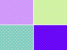 Set of four vector seamless patterns with a different polka dot. Bright colors stock illustration