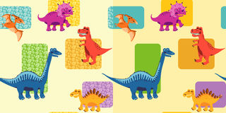 Seamless backgrounds with dinosaurs Stock Photos