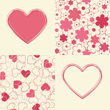 Seamless backgrounds and hearts design. Royalty Free Stock Images