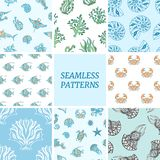 Seamless backgrounds with marine life. Vector illustration. royalty free illustration