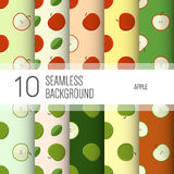 10 seamless backgrounds or patterns with apple. Stock Photography