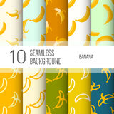 10 seamless backgrounds or patterns with banana. Stock Image