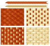 Endless backdrop s with patterns of basketry. Four vector seamless backgrounds with patterns of basketry of Wickers Stock Images