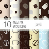 10 seamless backgrounds or patterns with coffee. Royalty Free Stock Image