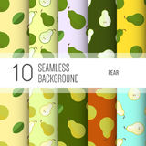 10 seamless backgrounds or patterns with fruit. Royalty Free Stock Photography