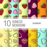 10 seamless backgrounds or patterns with fruit. Strawberry stock illustration