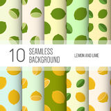 10 seamless backgrounds or patterns with lemon or lime. 10 seamless backgrounds or patterns with lemon or lime royalty free illustration