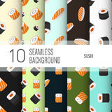10 seamless backgrounds or patterns with sushi. Stock Photo