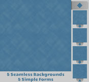 5 Seamless Backgrounds. Set of five seamless backgrounds. Background consist of transparent, simple shapes, squares, squares with rounded corners, dots, circles Royalty Free Stock Photography