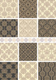 Seamless backgrounds. Set of 12 floral vintage seamless patterns Royalty Free Stock Images