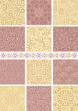 Seamless backgrounds. Set of 12 floral vintage seamless patterns Royalty Free Stock Photography