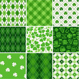Seamless backgrounds set - scrapbook paper St. Patrick's Day Royalty Free Stock Images