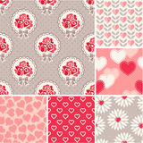 Seamless backgrounds set - scrapbook paper Valentine's Day. Vector set - scrapbook paper Valentine's Day patterns Royalty Free Stock Photo
