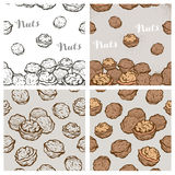 Seamless backgrounds with sketch nuts Stock Photos