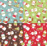 Seamless backgrounds with snowman. Royalty Free Stock Photos