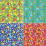 Seamless backgrounds, stars. Set seamless holiday backgrounds, abstract design, patterns of stars and rings Stock Photo