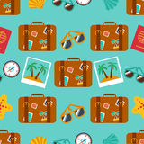Seamless backgrounds of travel, summer Stock Photos