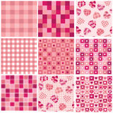 Seamless backgrounds for Valentin's day Stock Images