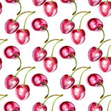 Seamless backround with cherries Stock Photo