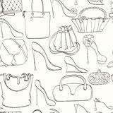 Seamless bag pattern. Seamless women fashion pattern can be used for wallpaper, website background, wrapping paper. Fashion women bag and shoes  bright pattern Stock Photo