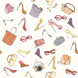 Seamless bag pattern. Seamless women fashion pattern can be used for wallpaper, website background, wrapping paper. Fashion women bag and shoes vector bright Royalty Free Stock Photo